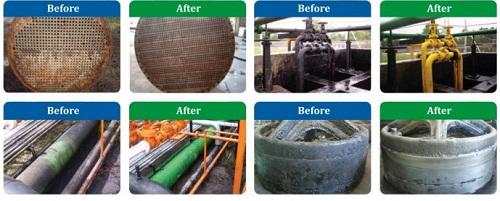 Hình ảnh trước và sau khi làm sạch dầu mỡ